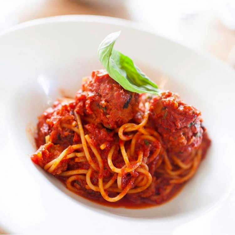 A delicious serving of Polpette Italian meatballs and spaghetti